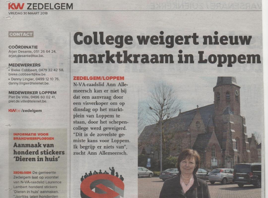 college weigert nieuw marktkraam in Loppem
